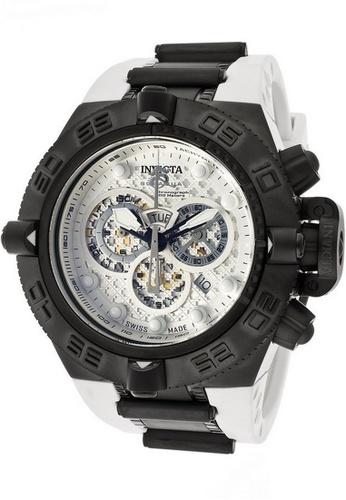 INVICTA black Invicta Subaqua Men 50mm Case White Artificial Rubber Strap Antique Silver Dial Quartz Watch 11813 IN968AC0F5BTSG_1