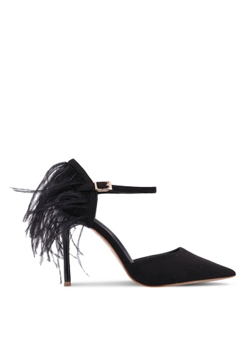 Velvet black Feather Dancing Heels 04772SH90A7626GS_1