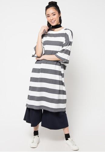 Envy Look grey Long Horizontal Stripe Boxy T-Shirt EN694AA68CQTID_1
