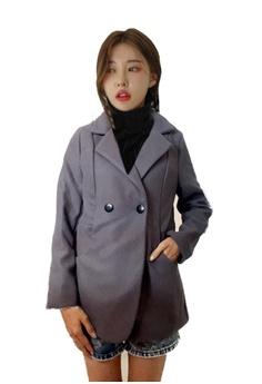 3f44ba830 Seoul in Love grey Baye Coat in Grey 6196FAAB6846DDGS_1