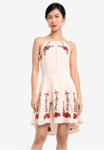 ZALORA beige Embroidered Fit & Flare Dress 18ABEAAC9593C5GS_1