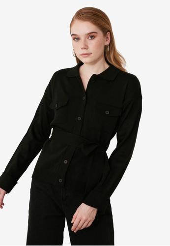 Trendyol black Pocket Sashed Button Cardigan F51D4AAB9F7D3DGS_1