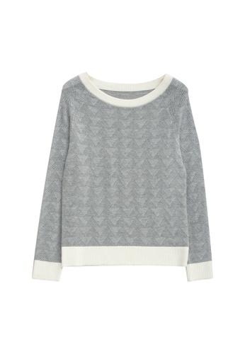 KLAPS grey Openwork Sweater 5E5AFAAB83A1C6GS_1