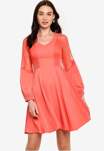 ZALORA orange Lace Panels Dress 4CBA6AA97DD4F6GS_1