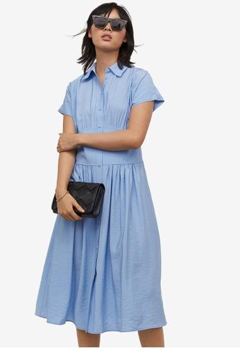 H&M blue Shirt Dress 72C52AA970DAE7GS_1
