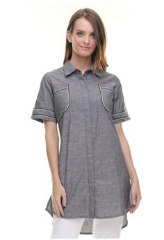 7ad29e74a54 LGS grey LGS - Regular Fit - Kemeja Wanita - Dress - Lengan Garis - Abu