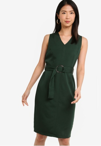 ZALORA BASICS green Basic Stitch Details V-Neck Tailored Dress 20C89AAFE3B9D2GS_1