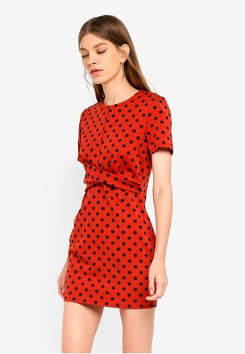Miss Selfridge red Petite Rust Polka Dot Dress 4BDEBAAA73A8FDGS_1