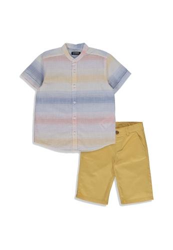 LC Waikiki blue Boy's Shirt and Shorts Set 99138KA9AF6A5DGS_1