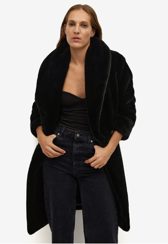 Mango black Fluffy Long Coat 3979DAA512BB5EGS_1