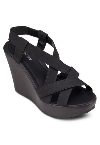 Almavillezalora 泳衣 多帶繞踝楔型涼鞋, 女鞋, 鞋