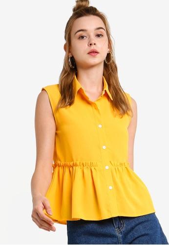 Something Borrowed 黃色 無袖娃娃褶飾上衣 2442AAA5AE2D07GS_1