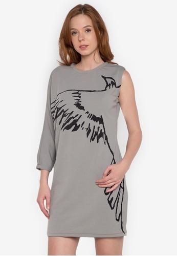 NEW ESSENTIALS grey John Herrera Asymmetric Printed Jersey Dress NE239AA0JD38PH_1