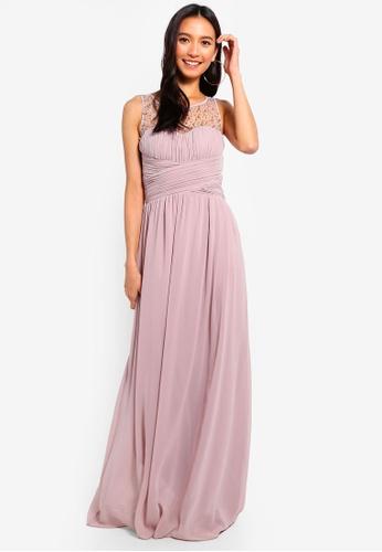 Little Mistress pink Mink Pearl Maxi Dress FBECEAAEAD576CGS_1