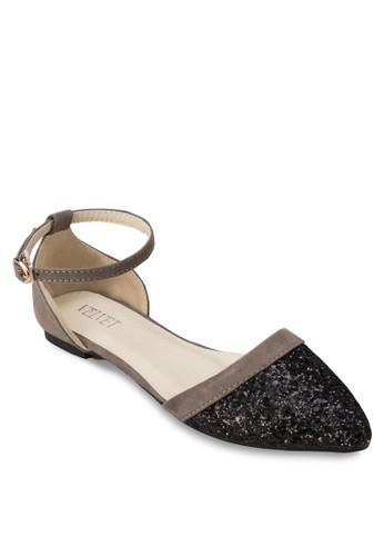 Lzalora 手錶eah 亮面側鏤空踝帶平底鞋, 女鞋, 鞋