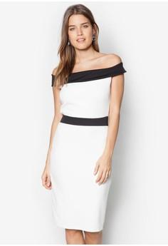 Bardot Style Bodycon Midi Dress