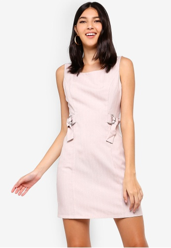 ZALORA pink Buckle Detail Sheath Dress FA085AAC60B962GS_1