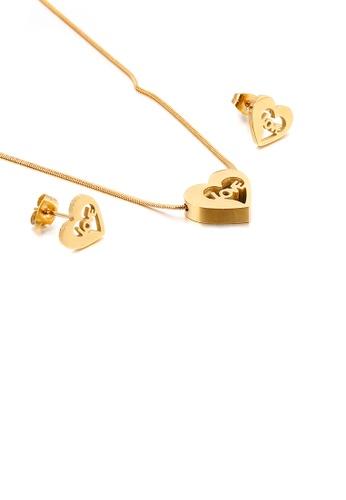 Glamorousky 銀色 簡約時尚鍍金色love心形316L鋼項鏈和耳釘套裝 D887AAC395344FGS_1