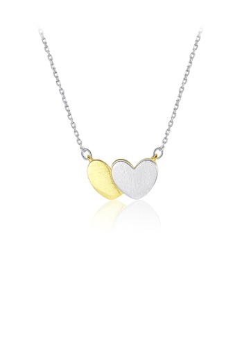 Glamorousky silver 925 Sterling Silver Simple Romantic Two-color Double Heart Pendant with Necklace 3C242AC9245AA1GS_1