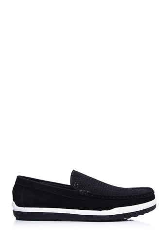 BONIA black Men Black Nubuck Slip-On Loafers F8B93SHC510A98GS_1