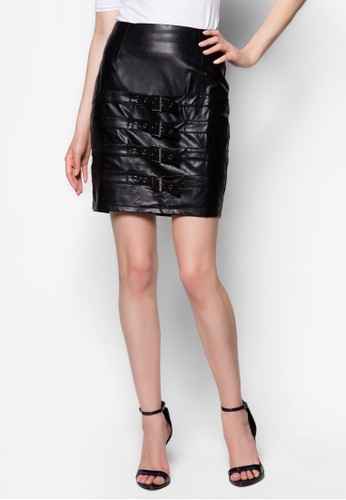 Grunge 多扣環帶PU鉛筆裙,zalora 心得 服飾, 迷你裙