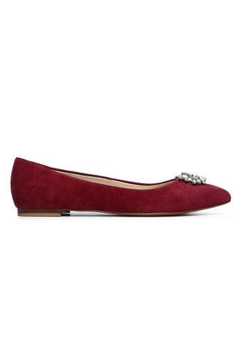 Byford red Larch Pointed Toe Suede Flats 95E8CSHA5743B9GS_1