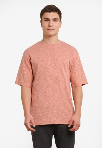 ZALORA orange Textured Drop Shoulder Tee 3CC41AA49AB32FGS_1