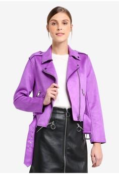 MANGO purple and multi Zipped Biker Jacket 7A46BAAD8694C1GS 1 cff2592086