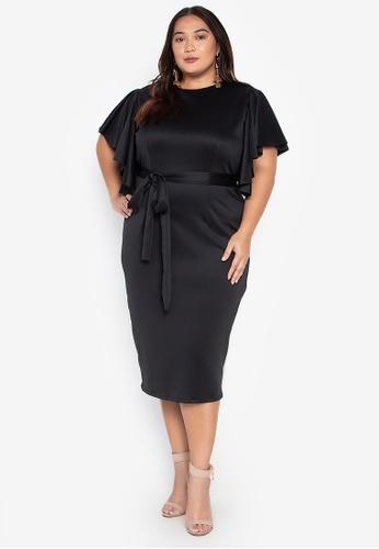Plus Size Laika Bodycon Draped Sleeves Midi Dress
