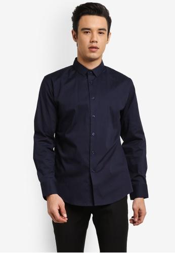 ZALORA 海軍藍色 Slim Fit Cotton Poplin Long Sleeve Shirt 84C67AA77310D0GS_1