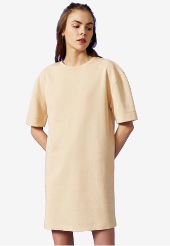 KOTON beige Oversized T-shirt Dress F1A30AAE7B44A9GS_1