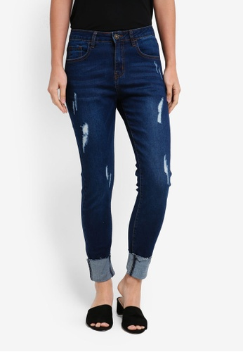 ZALORA blue Mid Rise Turn Up Skinny Jeans 0BAF1AA928FD39GS_1