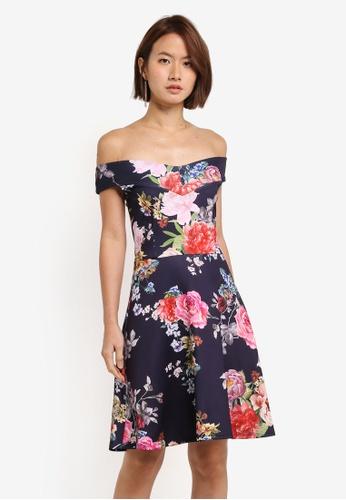 Dorothy Perkins navy Scarlett B Navy Skater Print Dress 22326AA274B0EBGS_1