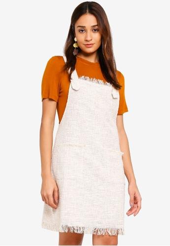 INDIKAH beige Fringe Hem Apron Dress 62B95AA625AFF3GS_1