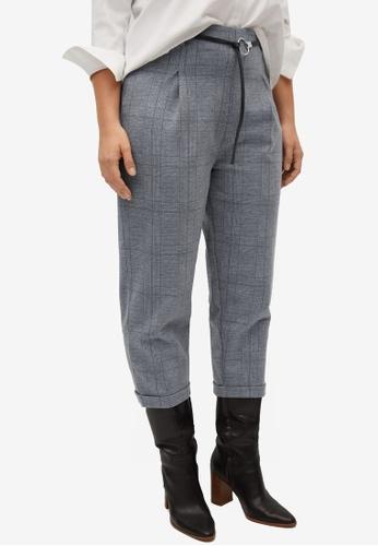 Violeta by MANGO grey Plus Size Belt Check Trousers A1379AA9006890GS_1