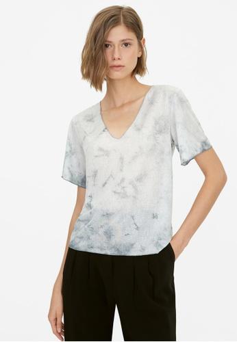 Pomelo grey V Neck Tie Dye Top - Light Grey 6B2D1AA4124D17GS_1