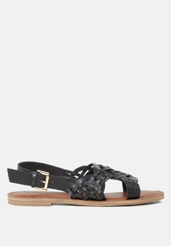 London Rag 黑色 编织带平底凉鞋 B3DBASHF6CA658GS_1