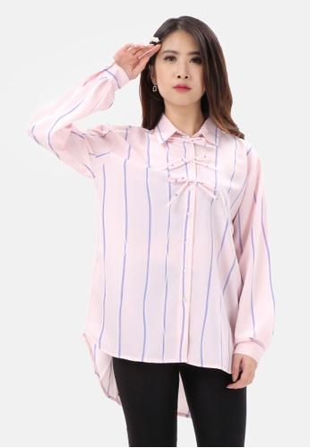 MKY Clothing pink MKY Ribbon Stripe Long Shirt 8BB45AA73E5D73GS_1