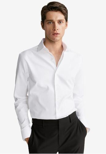 MANGO Man 白色 修身Fit Tailored 棉 襯衫 5A1D2AA87D1D90GS_1