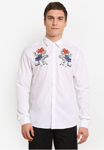 Topman white Long Sleeve Floral Chest Embroidered TO413AA0SJLJMY_1