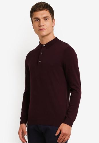 Burton Menswear London purple Purple Merlot Knitted Polo Shirt BU964AA0ROARMY_1