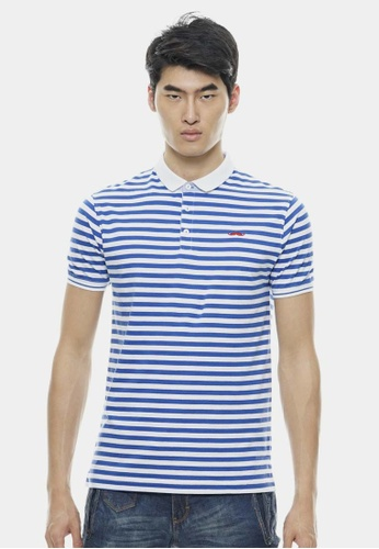Private Stitch blue Basic Blue Tiny Striped with Signature Moustache Polo PR777AA62NYFMY_1