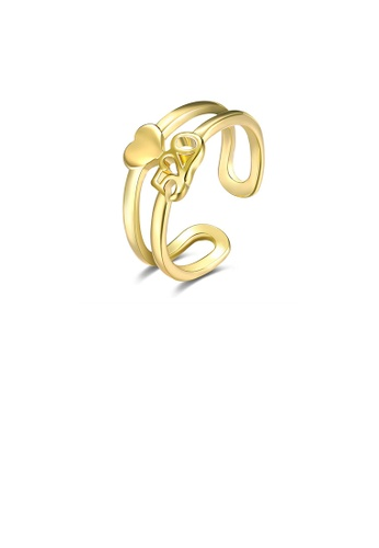 Glamorousky silver Fashion Plated Gold 520 Heart Shaped Adjustable Open Ring E985EACFA241F4GS_1