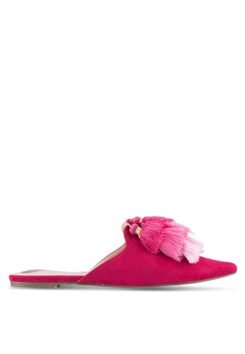 Velvet pink Tassle Slip On Flats 506C4SH0C97C8EGS_1