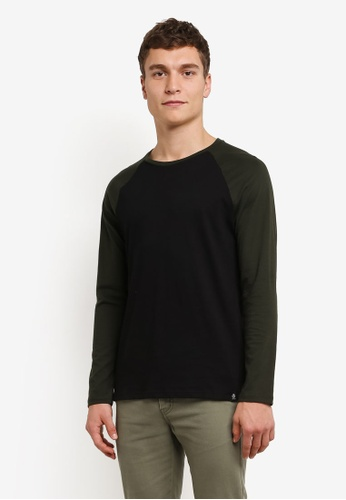 Burton Menswear London black Black And Khaki Raglan Sleeve T-Shirt BU964AA0RWMLMY_1