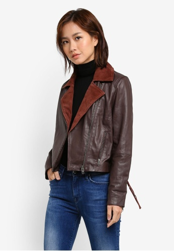 Selected Femme brown Polim Leather Jacket SE157AA0S3WOMY_1