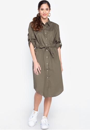 Graygoods green Joy Shirt Dress With Belt 86C47AA7601AB6GS_1