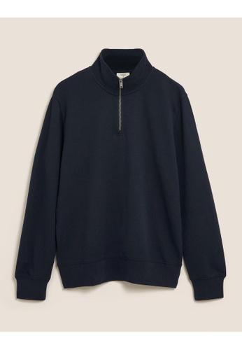 MARKS & SPENCER navy M&S Pure Cotton Half Zip Funnel Neck Sweatshirt B13E8AA119A3F1GS_1