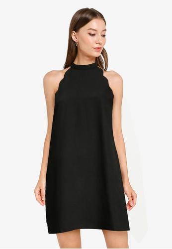 ZALORA OCCASION black Scallop Edge Halter Mini Dress 2FF11AA939A713GS_1