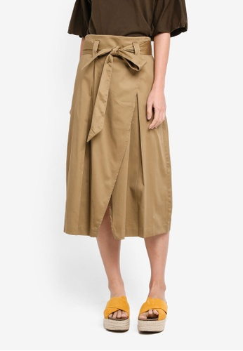 OVS brown Wrap Midi Skirt 69107AAA178DBBGS_1